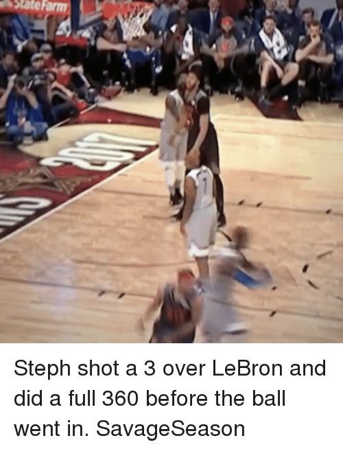 Basketball, Golden State Warriors, and Sports: Steph shot a 3 over LeBron and did a full 360 before the ball went in. SavageSeason