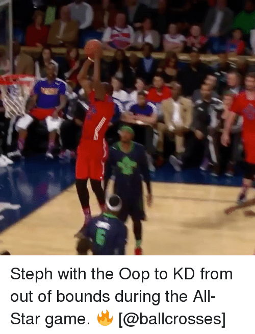 All Star, Basketball, and Golden State Warriors: Steph with the Oop to KD from out of bounds during the All-Star game. 🔥 [@ballcrosses]