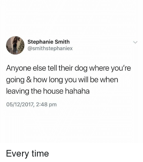 Memes, House, and Time: Stephanie Smith  @smithstephaniex  Anyone else tell their dog where you're  going & how long you will be when  leaving the house hahaha  05/12/2017, 2:48 pm Every time