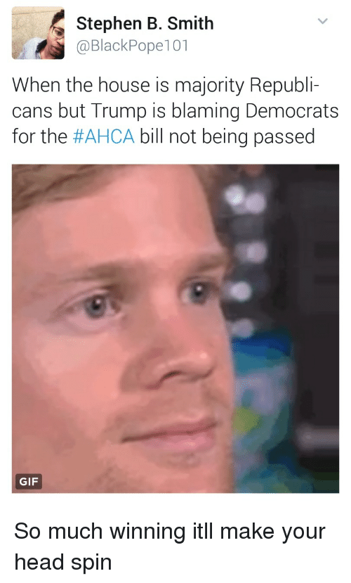 Gif, Head, and Stephen: Stephen B. Smith  @BlackPope101  When the house is majority Republi-  cans but Trump is blaming Democrats  for the #AHCA bill not being passed  GIF So much winning itll make your head spin