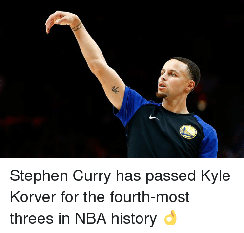 Nba, Stephen, and Stephen Curry: Stephen Curry has passed Kyle Korver for the fourth-most threes in NBA history 👌