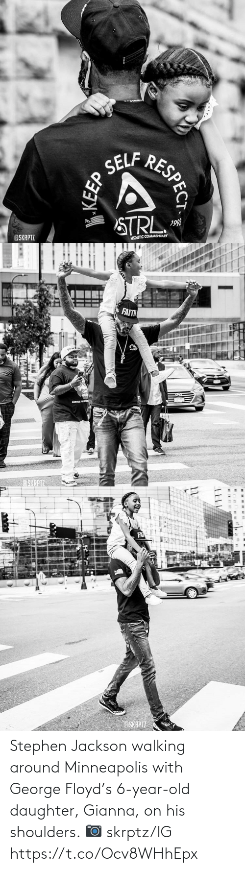 Memes, Stephen, and Minneapolis: Stephen Jackson walking around Minneapolis with George Floyd's 6-year-old daughter, Gianna, on his shoulders.   📷 skrptz/IG https://t.co/Ocv8WHhEpx