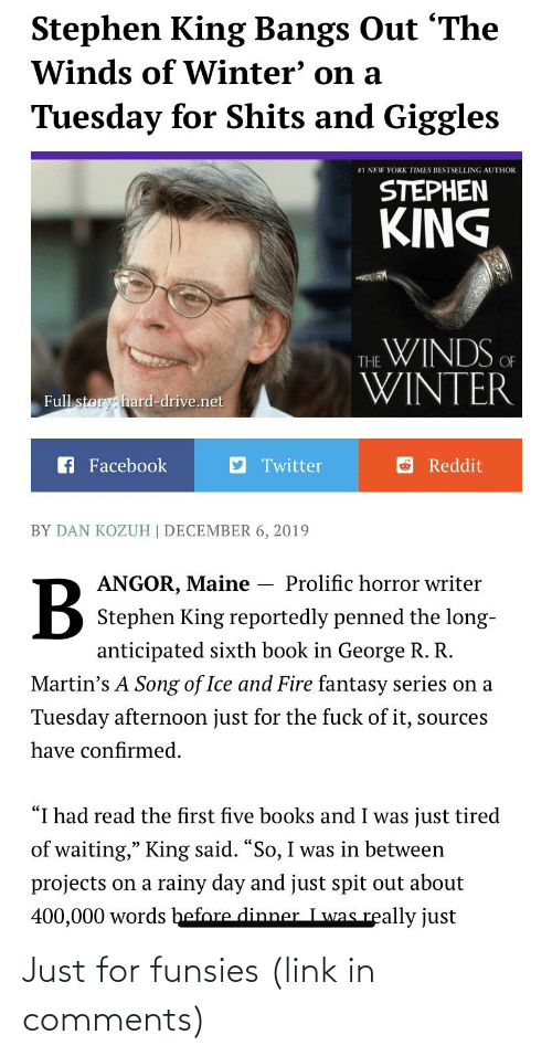Stephen King Bangs Out the Winds of Winter' on a Tuesday for