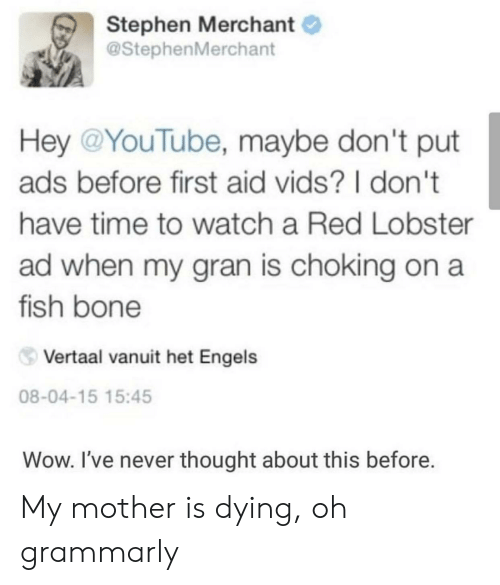 Stephen, Wow, and youtube.com: Stephen Merchant  @StephenMerchant  Hey @YouTube, maybe don't put  ads before first aid vids? I don't  have time to watch a Red Lobster  ad when my gran is choking on a  fish bone  Vertaal vanuit het Engels  08-04-15 15:45  Wow. I've never thought about this before. My mother is dying, oh grammarly