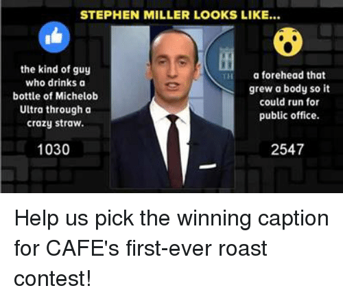 Drinking, Memes, and Stephen: STEPHEN MILLER LOOKS LIKE...  the kind of guy  a forehead that  who drinks a  grew a body so it  bottle of Michelob  could run for  Ultra through a  public office.  crazy straw.  1030  2547 Help us pick the winning caption for CAFE's first-ever roast contest!