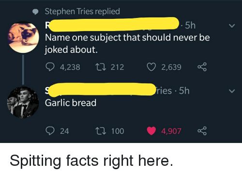 Facts, Stephen, and Garlic Bread: Stephen Tries replied  5h  Name one subject that should never be  joked about.  4,238 t 212  2,639  ries 5h  Garlic bread  24  ti 1004,907