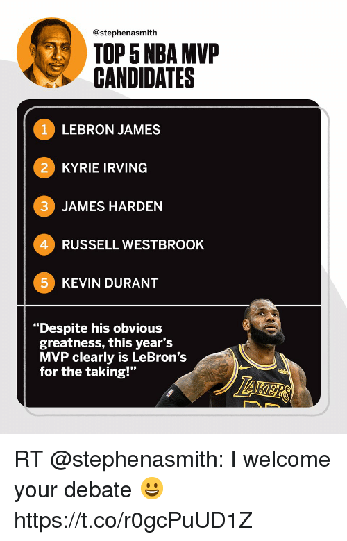 """James Harden, Kevin Durant, and Kyrie Irving: @stephenasmith  TOP 5 NBA MVP  CANDIDATES  1 LEBRON JAMES  2 KYRIE IRVING  3 JAMES HARDEN  4 RUSSELL WESTBROOK  5 KEVIN DURANT  """"Despite his obvious  greatness, this year's  MVP clearly is LeBron's  for the taking!"""" RT @stephenasmith: I welcome your debate 😀 https://t.co/r0gcPuUD1Z"""