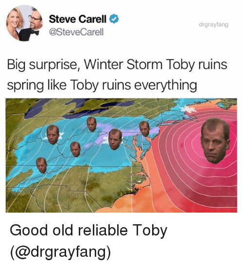 Funny, Steve Carell, and Winter: Steve Carell  @SteveCarell  drgrayfang  Big surprise, Winter Storm Toby ruins  spring like Toby ruins everything Good old reliable Toby (@drgrayfang)