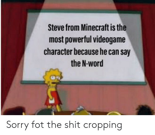 Minecraft, Shit, and Sorry: Steve from Minecraft is the  most powerful videogame  character because he can say  the N-word Sorry fot the shit cropping