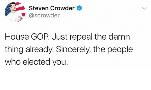 Memes, House, and Sincerely: Steven Crowder  @scrowder  House GOP. Just repeal the damn  thing already. Sincerely, the people  who elected you.