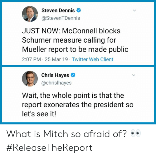 Memes, Twitter, and What Is: Steven Dennis  @StevenTDennis  JUST NOW: McConnell blocks  Schumer measure calling for  Mueller report to be made public  2:07 PM 25 Mar 19 Twitter Web Client  Chris Hayes  @chrislhayes  Wait, the whole point is that the  report exonerates the president so  let's see it! What is Mitch so afraid of? 👀 #ReleaseTheReport