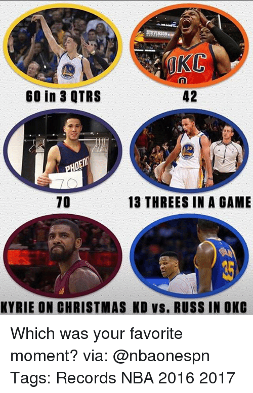 Christmas, Memes, and Nba: STEVENSON.  UKC  42  60 in 3 QTRS  30  10  13 THREES IN A GAME  KYRIE ON CHRISTMAS KD VS. RUSS IN OKC Which was your favorite moment? via: @nbaonespn Tags: Records NBA 2016 2017