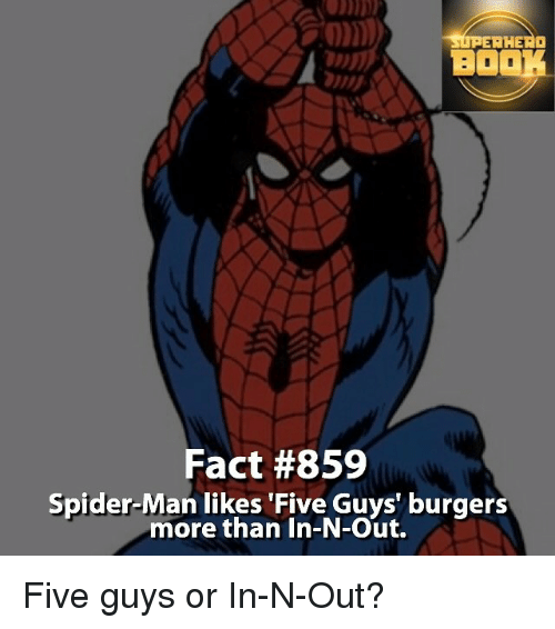 Boo, Memes, and Spider: sti AHEAD  BOO  Fact #859  Spider-Man likes Five Guys' burgers  more than In-N-Out. Five guys or In-N-Out?