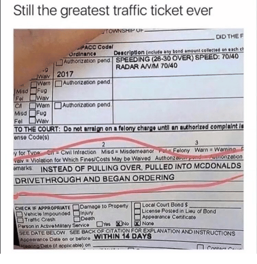 Still the Greatest Traffic Ticket Ever TOWNSHIP OF DID THE F