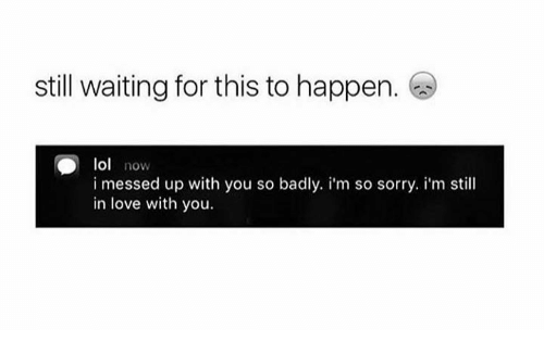 Lol, Love, and Sorry: still waiting for this to happen.  lol now  i messed up with you so badly. i'm so sorry. i'm still  in love with you.