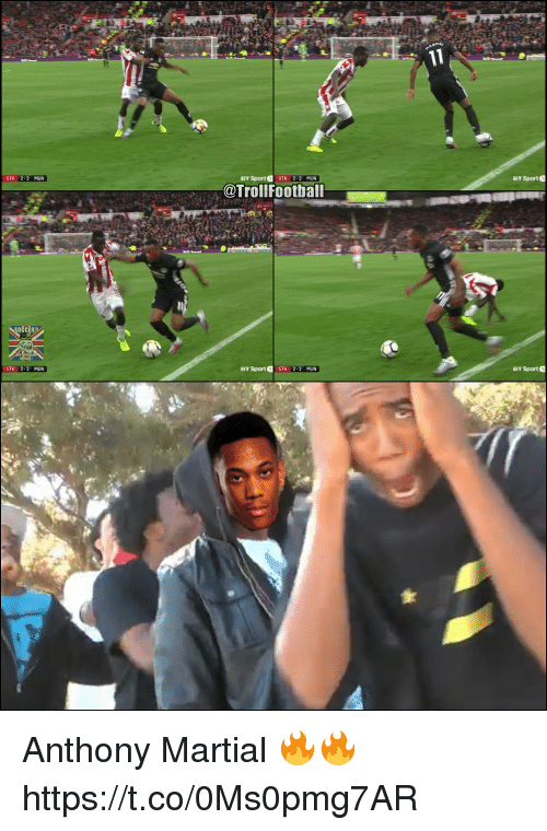 Memes, Martial, and 🤖: STK 2-2 MUN  BT Sport STK 2-2 MUN  BT Sport 0  @Trollfootball  BT Sport STK 2-2 MUN  BT Sport 0  STK 2-2 MUN Anthony Martial 🔥🔥 https://t.co/0Ms0pmg7AR