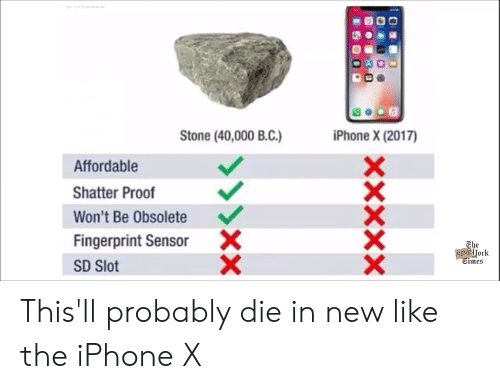 Iphone, Reddit, and Proof: Stone (40,000 BC)  iPhone X (2017)  Affordable  Shatter Proof  Won't Be Obsolete  Fingerprint Sensor  SD Slot  X  The  York  Ctmes This'll probably die in new like the iPhone X