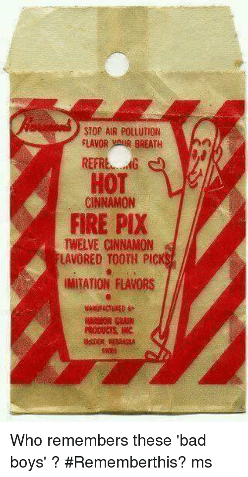 Bad Boys, Memes, and 🤖: STOP AIR POLLUTION  FLAVOR BREATH  HOT  CINNAMON  FIRE PIX  TWELVE CINNAMON  LAVORED TOOTH PIC  IMITATION FLAVORS Who remembers these 'bad boys' ? #Rememberthis?  ms