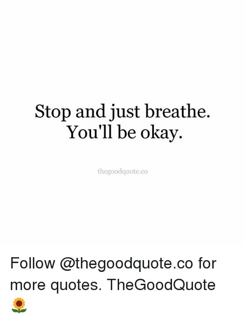 Stop And Just Breathe Youll Be Okay Thegoodquoteco Follow For More