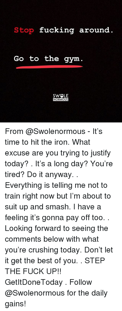 Fucking, Gym, and Memes: Stop fucking around  Go to the gym  SW LE  NORMOUS From @Swolenormous - It's time to hit the iron. What excuse are you trying to justify today? . It's a long day? You're tired? Do it anyway. . Everything is telling me not to train right now but I'm about to suit up and smash. I have a feeling it's gonna pay off too. . Looking forward to seeing the comments below with what you're crushing today. Don't let it get the best of you. . STEP THE FUCK UP!! GetItDoneToday . Follow @Swolenormous for the daily gains!