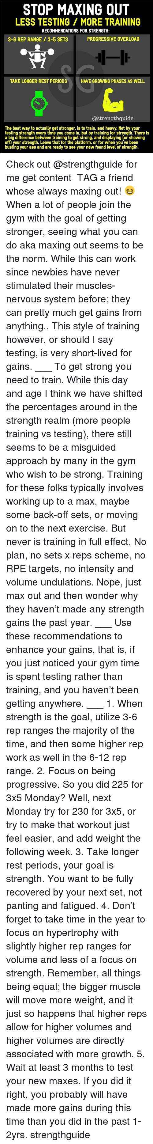 Gym And Memes Stop Maxing Out Less Testing More Training Recommendations For