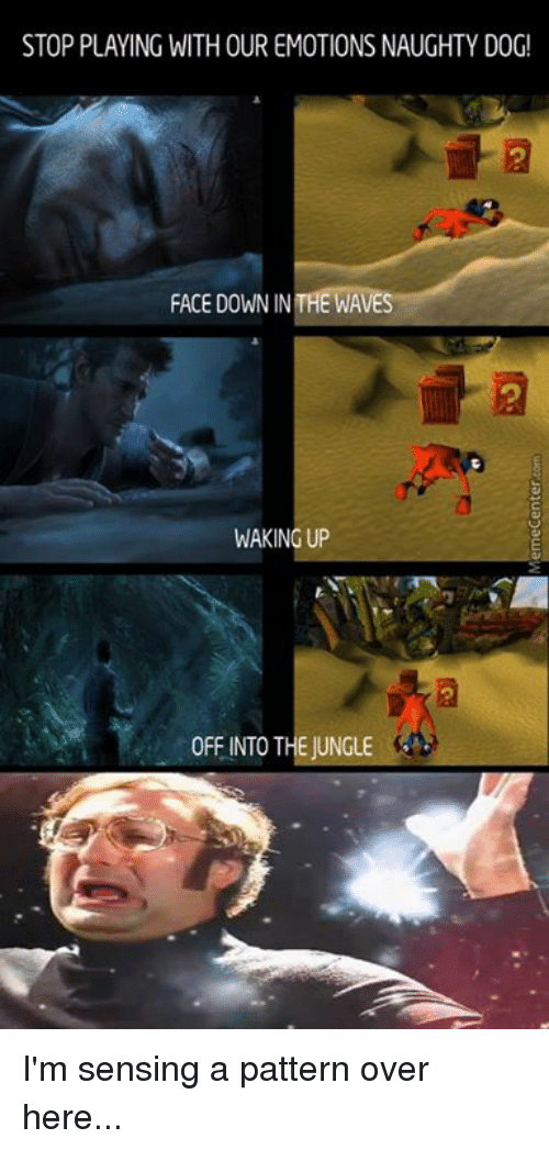 Memes, 🤖, and Dog: STOP PLAYING WITHOUR EMOTIONS NAUGHTY DOG!  FACE DOWN IN THE WAVE  WAKING UP  0FFINTO THE JUNGLE I'm sensing a pattern over here...