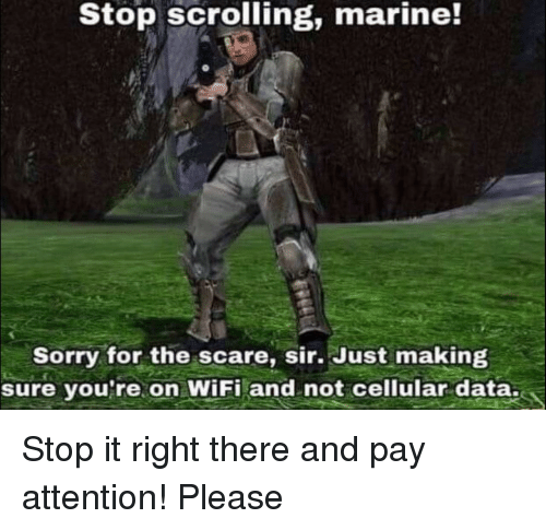 Scare, Sorry, and Wifi: Stop scrolling, marine!  Sorry for the scare, sir. Just making  sure you re on WiFi and not cellular data. Stop it right there and pay attention! Please