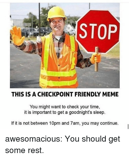 Meme, Tumblr, and Blog: STOP  THIS IS A CHECKPOINT FRIENDLY MEME  You might want to check your time,  it is important to get a goodnight's sleep.  If it is not between 10pm and 7am, you may continue. awesomacious:  You should get some rest.