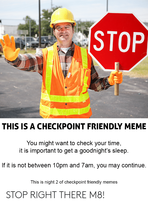 Meme, Memes, and Time: STOP  THIS IS A CHECKPOINT FRIENDLY MEME  You might want to check your time,  it is important to get a goodnight's sleep  If it is not between 10pm and 7am, you may continue  This is night 2 of checkpoint friendly memes STOP RIGHT THERE M8!