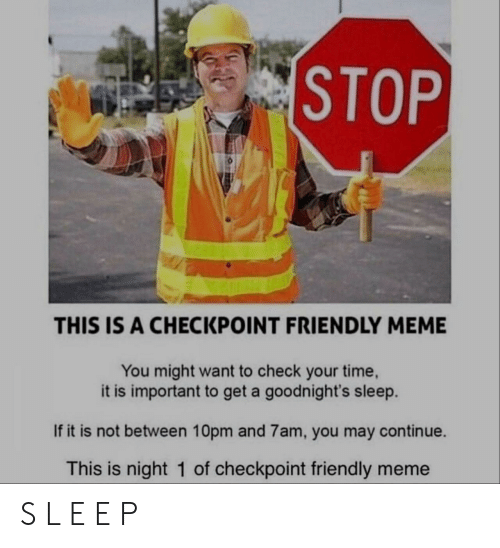 Meme, Time, and Sleep: STOP  THIS IS A CHECKPOINT FRIENDLY MEME  You might want to check your time  it is important to get a goodnight's sleep.  If it is not between 10pm and 7am, you may continue.  This is night 1 of checkpoint friendly meme S L E E P