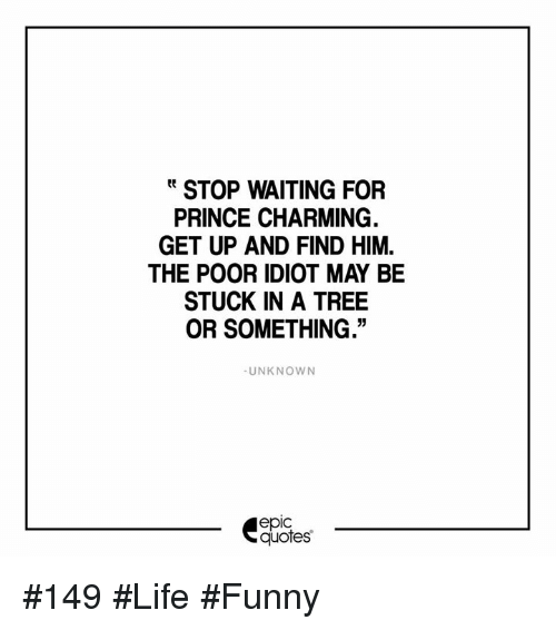Stop Waiting For Prince Charming Get Up And Find Him The Poor Idiot