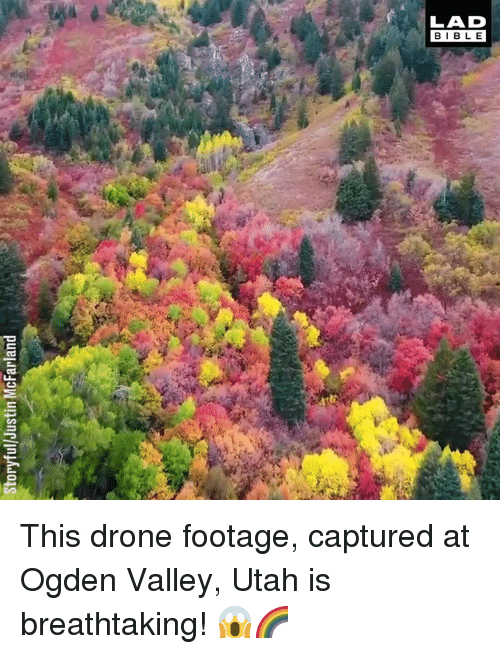 Dank, Drone, and Utah: Storyful/Justin McFarland This drone footage, captured at Ogden Valley, Utah is breathtaking! 😱🌈