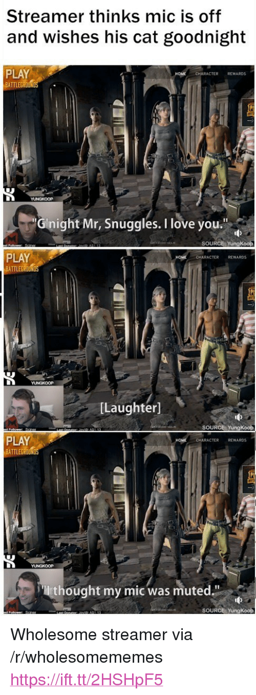 "Love, I Love You, and Wholesome: Streamer thinks mic is off  and wishes his cat goodnight  PLAY  BATTLEGROUN  CHARACTER REWARDS  Gnight Mr, Snuggles. I love you.""  SOURCE: YungKoop  PLAY  BATTLEG  CHARACTER REWARDS  [Laughter]  SOURCE: YungKoop  PLAY  BATTLEGROUND  CHARACTER REWARDS  thought my mic was muted.""  SOURCE: YungKoop <p>Wholesome streamer via /r/wholesomememes <a href=""https://ift.tt/2HSHpF5"">https://ift.tt/2HSHpF5</a></p>"