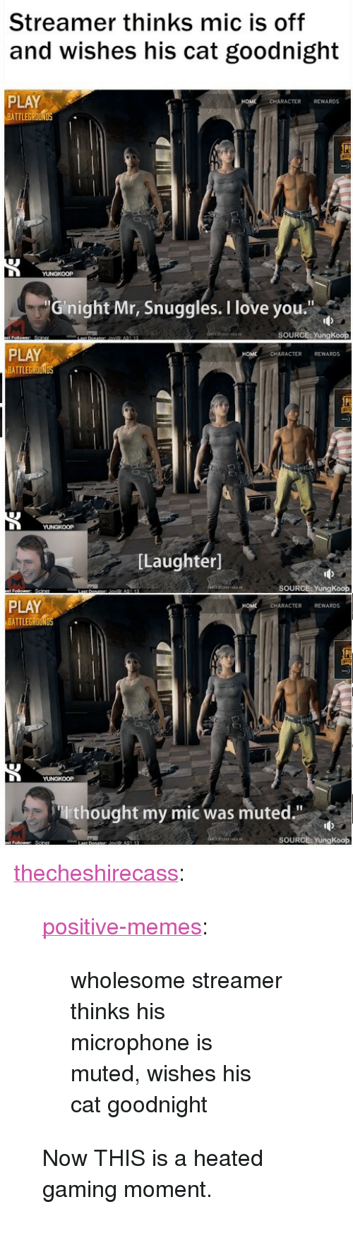 """Love, Memes, and Tumblr: Streamer thinks mic is off  and wishes his cat goodnight  PLAY  ATTLEGROUN  CHARACTER REWARDS  Ginight Mr, Snuggles. I love you  SOURCE: YungKoop  PLAY  BATTLEGROUND  CHARACTER REWARDS  [Laughter]  SOURCE: YungKoop  PLAY  BATTLEG  HOME  CHARACTER REWARDS  thought my mic was muted.""""  SOURCE: YungKoop <p><a href=""""https://thecheshirecass.tumblr.com/post/165465665312/positive-memes-wholesome-streamer-thinks-his"""" class=""""tumblr_blog"""">thecheshirecass</a>:</p> <blockquote> <p><a href=""""https://positive-memes.tumblr.com/post/165007172445/wholesome-streamer-thinks-his-microphone-is-muted"""" class=""""tumblr_blog"""">positive-memes</a>:</p> <blockquote><p>wholesome streamer thinks his microphone is muted, wishes his cat goodnight</p></blockquote>  <p>Now THIS is a heated gaming moment.</p> </blockquote>"""