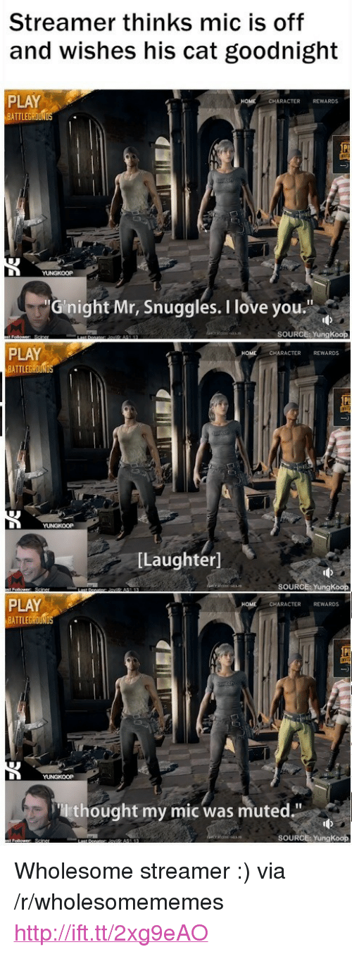"""Love, I Love You, and Home: Streamer thinks mic is off  and wishes his cat goodnight  PLAY  ATTLEGOUN  CHARACTER REWARDS  Gnight Mr, Snuggles. I love you""""  SOURCE YungKoop  PLAY  BATTLEGROUND  CHARACTER REWARDS  [Laughter]  SOURCE: YungKoop  PLAY  BATTLEG  HOME  CHARACTER REWARDS  thought my mic was muted.""""  SOURCE: YungKoop <p>Wholesome streamer :) via /r/wholesomememes <a href=""""http://ift.tt/2xg9eAO"""">http://ift.tt/2xg9eAO</a></p>"""