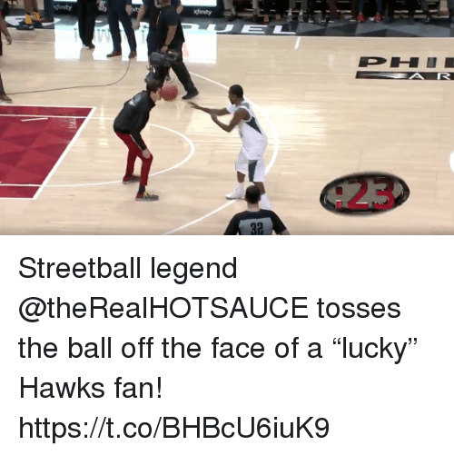 "Memes, Hawks, and 🤖: Streetball legend @theRealHOTSAUCE tosses the ball off the face of a ""lucky"" Hawks fan!  https://t.co/BHBcU6iuK9"