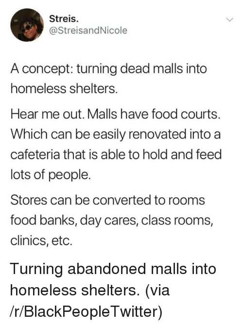 Blackpeopletwitter, Food, and Homeless: Streis.  @StreisandNicole  A concept: turning dead malls into  homeless shelters.  Hear me out. Malls have food courts.  Which can be easily renovated into a  cafeteria that is able to hold and feed  lots of people.  Stores can be converted to rooms  food banks, day cares, class rooms,  clinics, eto. Turning abandoned malls into homeless shelters. (via /r/BlackPeopleTwitter)