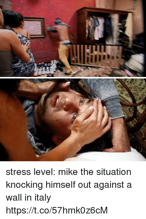 Girl Memes, Italy, and Stress: stress level: mike the situation knocking himself out against a wall in italy https://t.co/57hmk0z6cM
