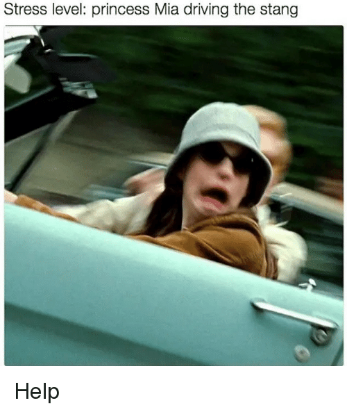 Driving, Help, and Princess: Stress level: princess Mia driving the stang Help