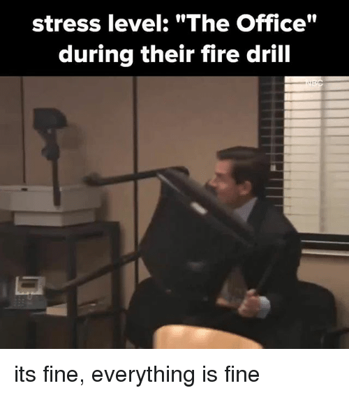 """Fire, Memes, and The Office: stress level: """"The Office""""  during their fire drill its fine, everything is fine"""