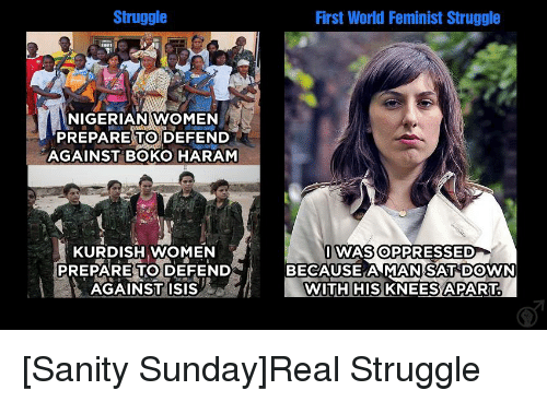 Isis, Struggle, and Tumblr: Struggle  NIGERIAN WOMEN  PREPARE TO DEFEND  AGAINST BOKO HARAM  KURDISH WOMEN  PREPARE TO DEFEND  AGAINST ISIS  af f  First World Feminist Struggle  I WAS OPPRESSED  BECAUSE AMAN SAT DOWN  WITH HIS  KNEESA PART [Sanity Sunday]Real Struggle