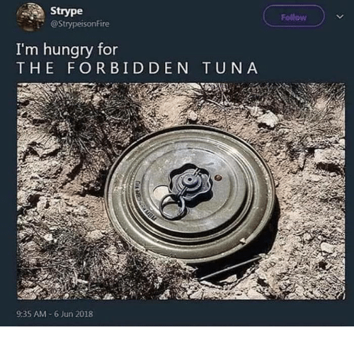 Hungry, Tuna, and For: Strype  @Strypeisonfire  Follow  I'm hungry for  THE FORBIDDEN TUNA  9:35 AM-6 Jun 2018