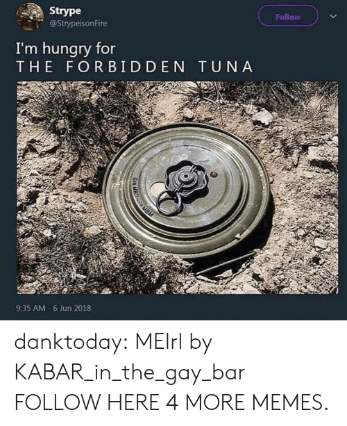 Dank, Hungry, and Memes: Strype  @StrypeisonFire  Follow  I'm hungry for  THE FORBIDDEN TUNA  9:35 AM-6 Jun 2018 danktoday:  MEIrl by KABAR_in_the_gay_bar FOLLOW HERE 4 MORE MEMES.
