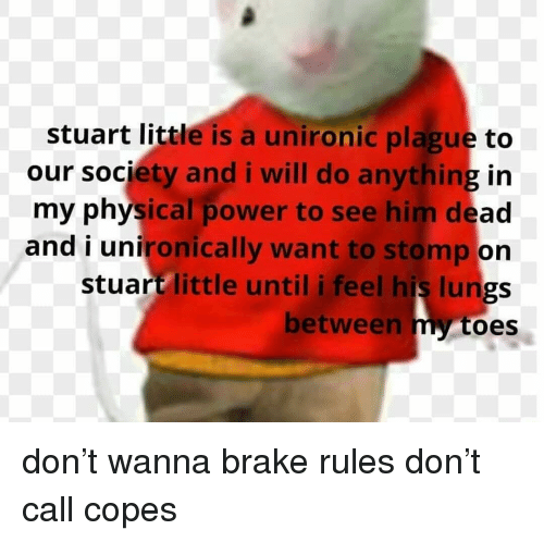 Stuart Little Is A Unironic Plague To In My Physical Power To See