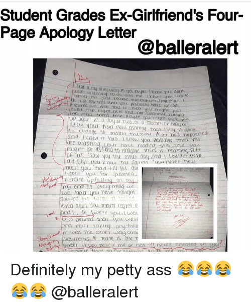 Student Grades ExGirlfriends Four Page Apology Letter Balleralert