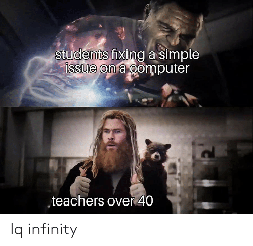 Computer, Infinity, and Simple: students fixing a simple  issue on a computer  ,teachers over 40 Iq infinity