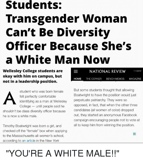 Students Transgender Woman Can't Be Diversity Officer