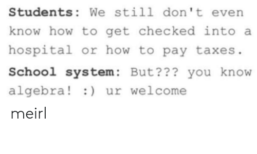 School, Taxes, and Hospital: Students: We still don't evern  know how to get checked into a  hospital or how to pay taxes  School system: But??? you know  algebra!) ur welcome meirl
