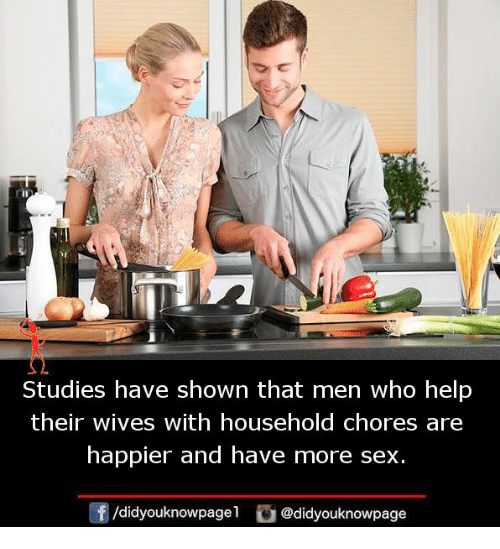 Memes, Sex, and Help: Studies have shown that men who help  their wives with household chores are  happier and have more sex.  /didyouknowpage 1  舀@didyouknowpage