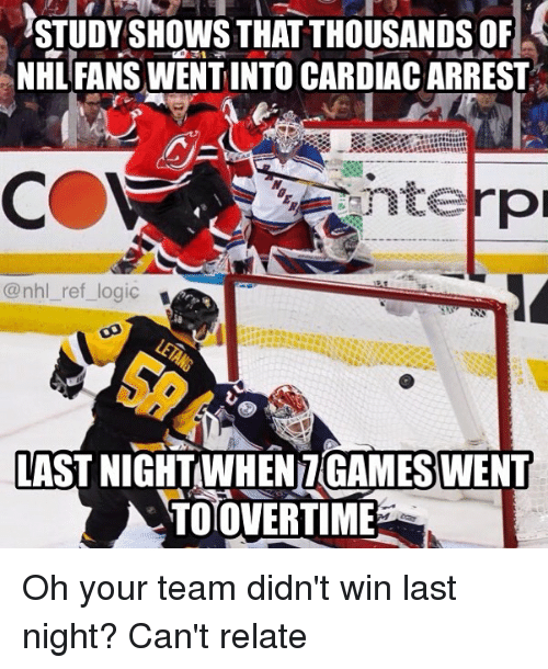 Logic, Memes, and National Hockey League (NHL): STUDY SHOWS THAT THOUSANDS OF  NHL FANS WENT INTO CARDIAC ARREST  nterp  @nhl ref logic  LAST NIGHTWHEN7 GAMESWENT  TOOVERTIME Oh your team didn't win last night? Can't relate